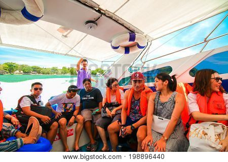 RANONG THAILAND - SEPTEMBER 20:Unidentified traveller travel with speed boat to the beach on September 20 2016 in Ranong Thailand.