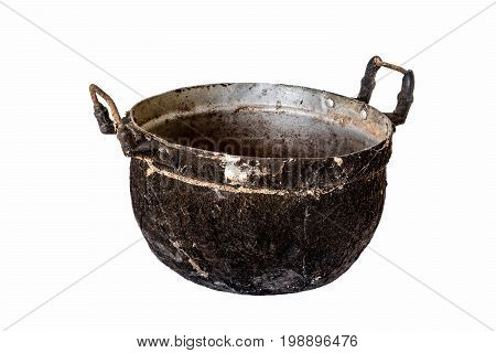 vintage cooking style,  old aluminium pot, isolated