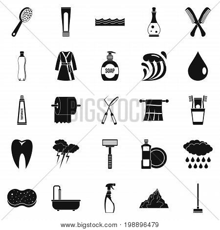 Wash icons set. Simple set of 25 wash vector icons for web isolated on white background