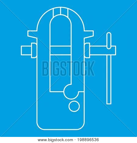 Blacksmiths vice icon blue outline style isolated vector illustration. Thin line sign