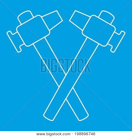 Crossed blacksmith hammer icon blue outline style isolated vector illustration. Thin line sign