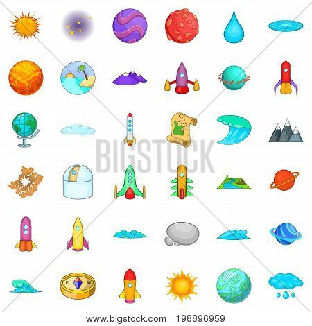 Astronomy icons set. Cartoon style of 36 astronomy vector icons for web isolated on white background