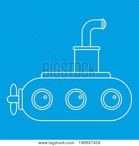 Submarine icon blue outline style isolated vector illustration. Thin line sign
