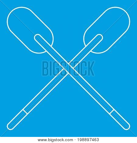 Two wooden crossed oars icon blue outline style isolated vector illustration. Thin line sign