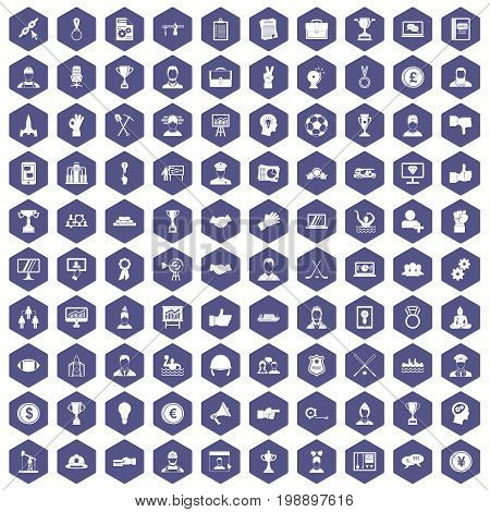 100 leadership icons set in purple hexagon isolated vector illustration