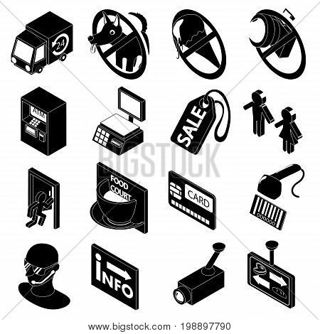 Shop navigation foods icons set. Simple cartoon illustration of 16 shop navigation foods vector icons for web