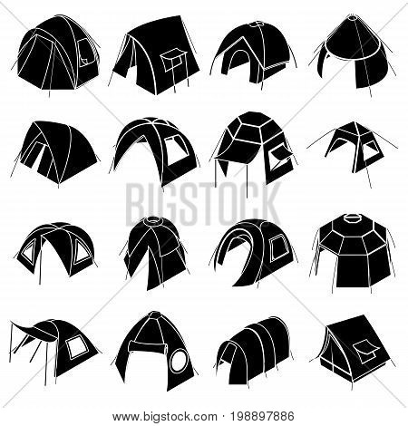 Tent forms icons set. Simple illustration of 16 tent forms vector icons for web