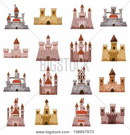 Castle tower icons set. Cartoon illustration of 16 castle tower vector icons for web