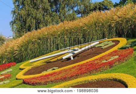 Geneva, Switzerland - 24 September, 2016: the flower clock (French: L'horloge fleurie) on the western side of Jardin Anglais park in the city of Geneva. The clock was created in 1955 as a symbol of the city's watchmakers and a dedication to nature.
