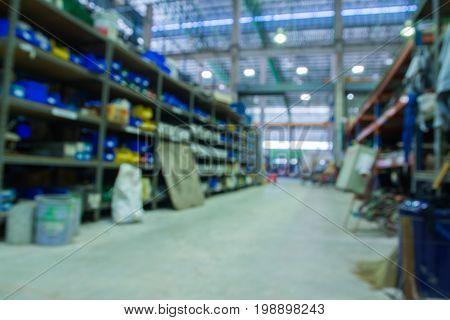 Abstract blur Machinery parts and Engine spare parts store in Tool and Materials Warehouse.