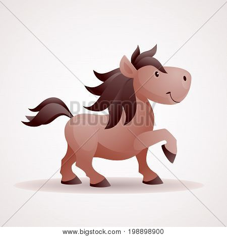 Smiling horse vector cartoon. Eps8. RGB Global color