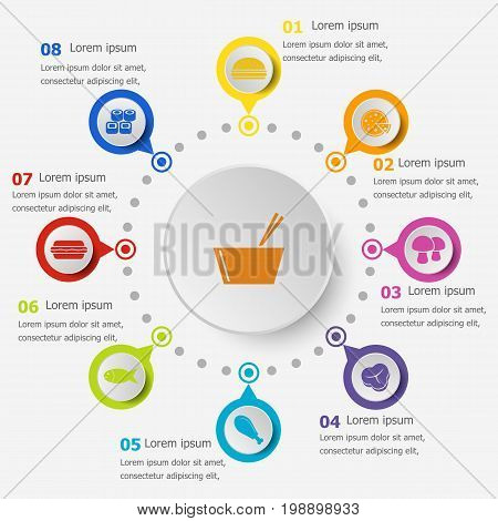Infographic template with food icons, stock vector