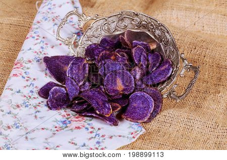 Sweet Potato,candy Striped Beet And Blue Potato Chips.