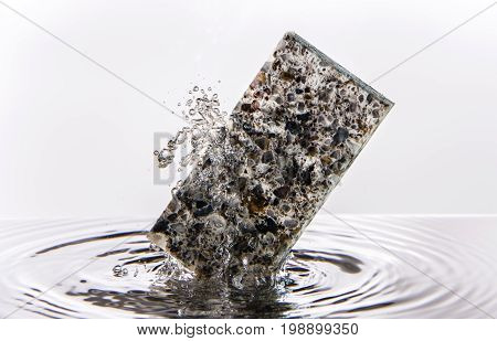 Countertop. Granite splashed countetop. Kitchen counter top sample inside water splash made of granite. Kitchen countertops.