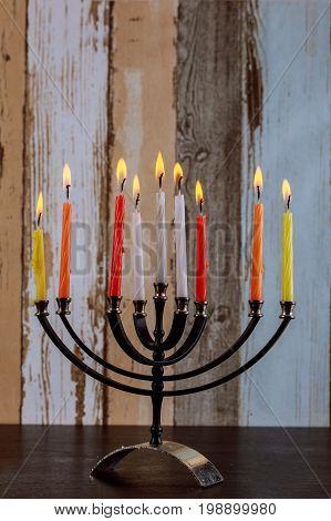 Jewish Holiday Hanukkah Background With Menorah
