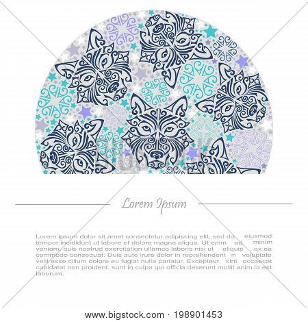 Circle concept with wolf or husky dog head stylized Maori face tattoo. Text copy frame template. Dog is symbol of 2018 year. Vector