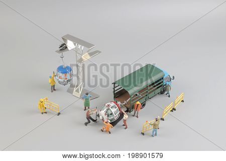 Mini Figure With Cable Car At The Site