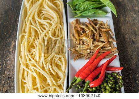 Ingredient of spicy spaghetti cooking spicy spaghetti concept