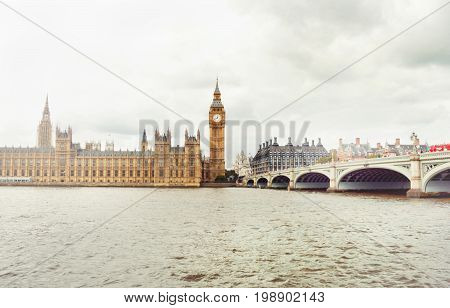 Afar view on Big Ben London. Travel and tourism concept