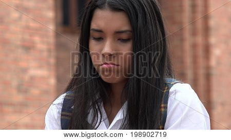 Sad Unhappy Hispanic Girl with Long Black Hair