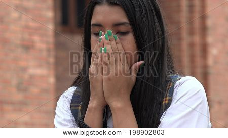 Sad Tearful Girl with Long Black Hair