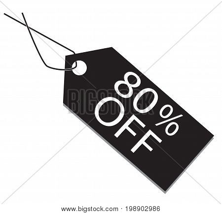 80 percent tag on white background. 80 percent tag sign.