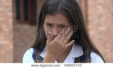 Sad Tearful Female Student Young Colombian Girl