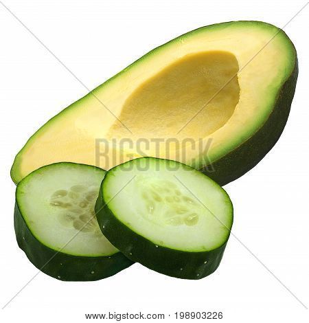 Isolated fruits. Half of avocado fruit and cucumber slices (cosmetics ingredients) isolated on white
