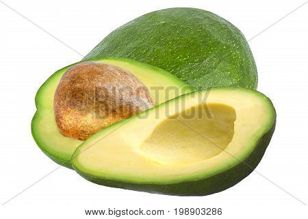 Isolated fruits. One and two pices avocado isolated on white background s package design element.