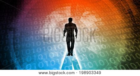 Empowered by Technology with Man Standing in Digital Portal