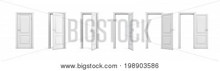 3d rendering set of white wooden doors in different stages of opening. Entrance and doorways. Indoor interior. Closed and open way.