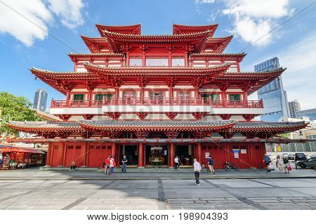 Main View Of The Buddha Tooth Relic Temple In Singapore