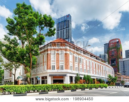 Scenic Colonial Building On Murray Street In Singapore