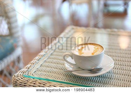 Caramel Macchiato Hot Coffee Drink Tasty In Cafe Restaurant