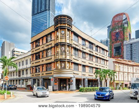 Scenic Building On Cook Street In Downtown Of Singapore