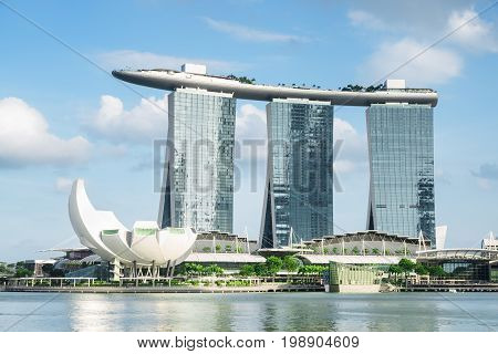Scenic View Of The Famous Marina Bay Sands Hotel, Singapore
