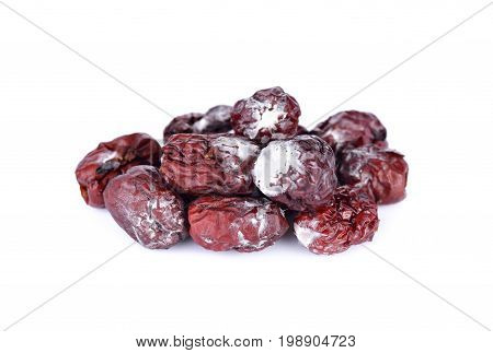 white fungus on dried jujube and on white background