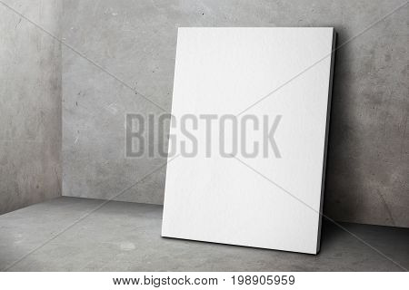 Blank White Poster Frame Leaning At Grunge Grey Concrete Wall And Floor, Mock Up Template For Adding