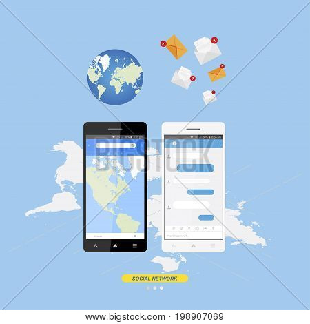 Social concept new message chat app on the Internet. Notifications about a new message in the smartphone. Application with world map for navigation. Flat vector illustration EPS 10.