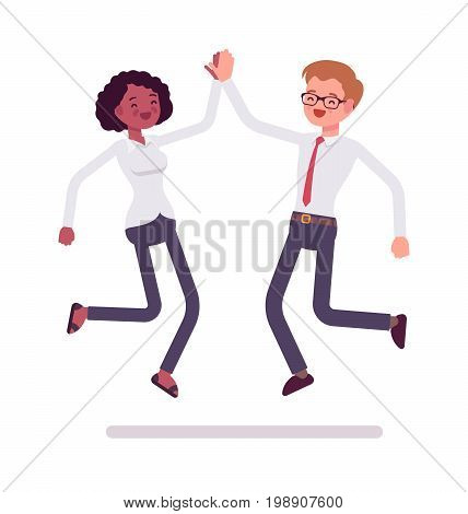 Male and female clerks jumping giving high five. Development, negotiation for success. Business communication concept. Vector flat style cartoon illustration, isolated, white background