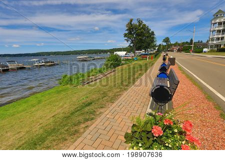 Lake Chautauqua, in western New York, is a beautiful recreation area and vacation destination.  This is the town of Bemus Point.