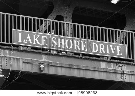 Big Lake Shore Drive Sign On A Chicago Bridge