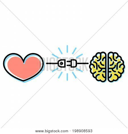 Heart and brain interactions concept - electric plug connection