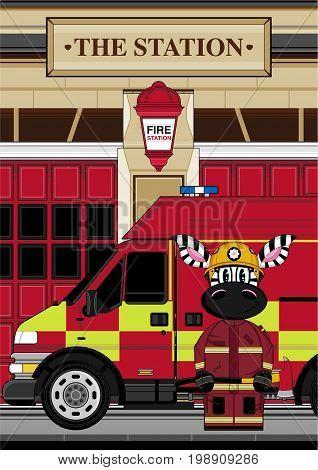 Zebra Fireman & Van Scene