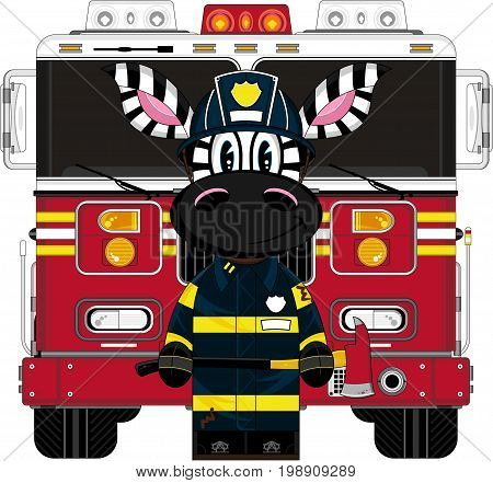 Zebra Fireman And Engine.eps
