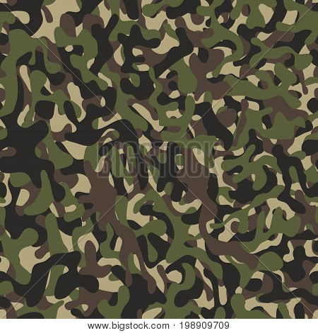 Camouflage pattern background seamless illustration. Military camouflage seamless pattern. Four colors. Woodland style camouflage pattern. Classic clothing style masking camo repeat print.