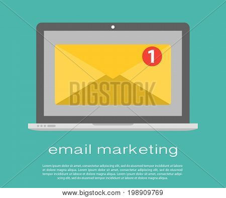 Laptop with envelope and read email on screen. Email marketing, internet advertising concepts. Flat vector. Laptop with envelope and document on screen. E-mail marketing, internet advertising concepts