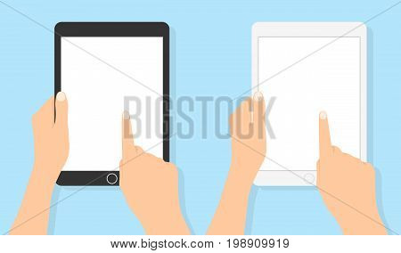 Hand holding tablet and touching screen Flat vector. Set tablets in hand with a white clean screen. human hand holding mobile tablet with blank screen isolated on blue background
