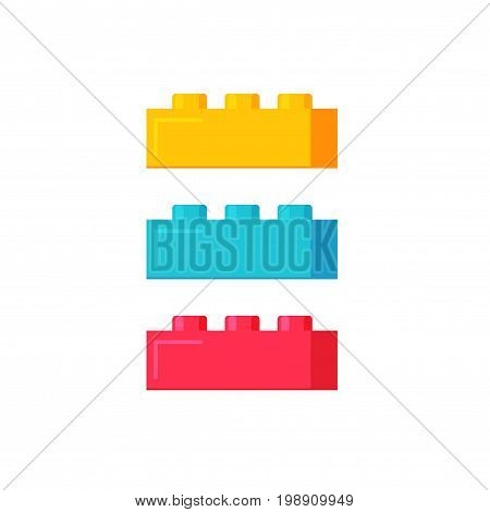Blocks construction toys vector illustration, flat cartoon plastic color building blocks or bricks toy isolated on white background
