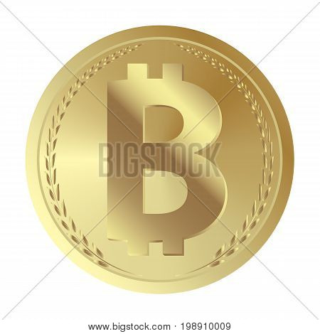 Golden coin with bitcoin sign. Money and finance symbol. Vector Illustration isolated on white background. Gold coin with Bitcoin symbol. Cryptography currency